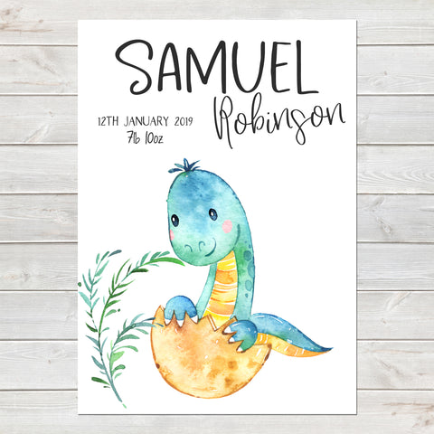 Baby Dinosaur Name Print, Cute Birth Announcement, Personalised Nursery Gift A4 or A3