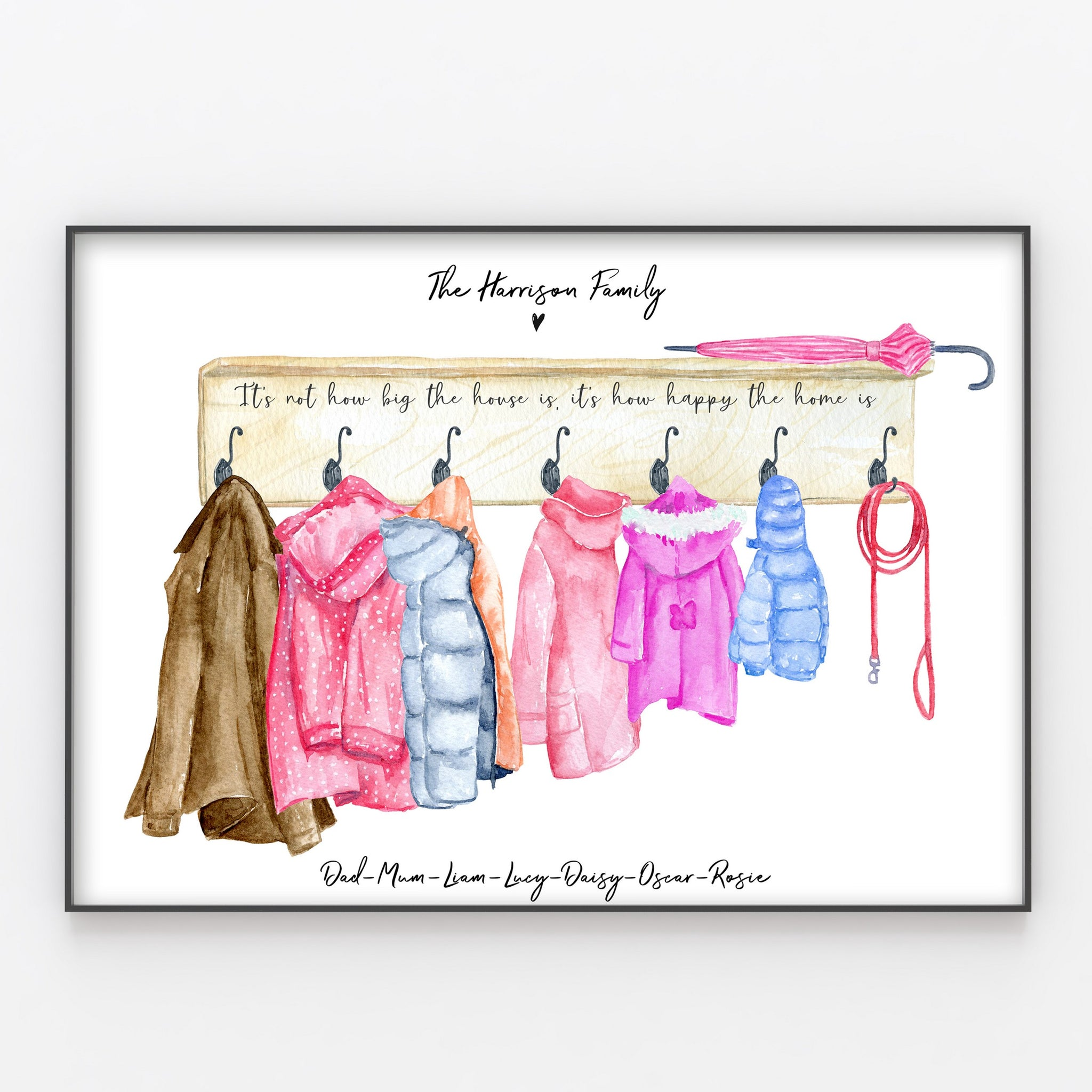 Coat Hook Family Print Personalised Jackets Wall Art Gift for Home