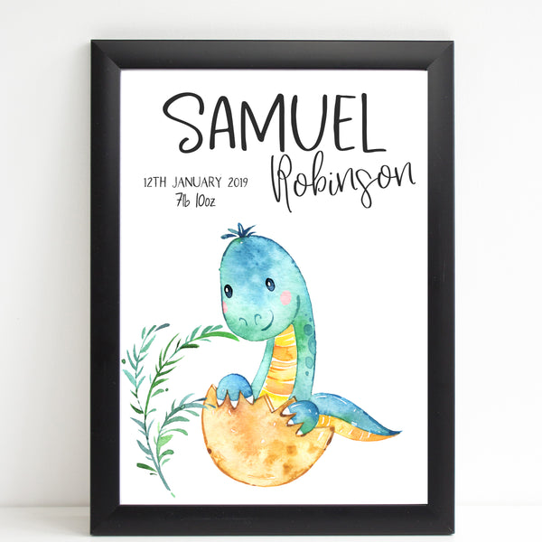 Baby Dinosaur Name Print, Cute Birth Announcement, Personalised Nursery Gift
