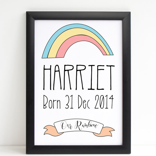 Our Rainbow Print, New Baby Personalised Nursery Poster