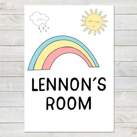 Rainbow Baby Room Sign, New Arrival Personalised Nursery Poster A4 or A3