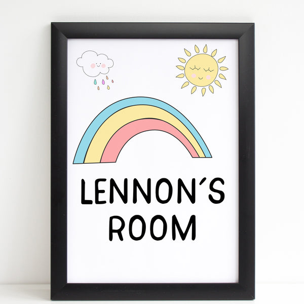 Rainbow Baby Room Sign, New Arrival Personalised Nursery Poster