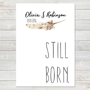 Still Born, Baby Loss Remembrance Personalised Print A4 or A3