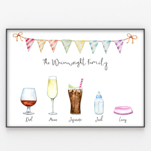 Drinks Family Print Fun Personalised Watercolour Poster