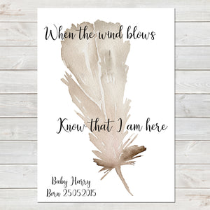 When The Wind Blows, Baby Loss Remembrance Personalised Print