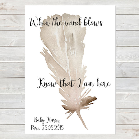 When The Wind Blows, Baby Loss Remembrance Personalised Print A4 or A3