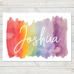 Watercolour Rainbow Name Print, New Baby Personalised Nursery Poster