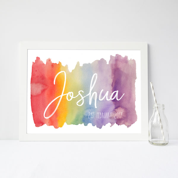 Watercolour Rainbow Name Print, New Baby Personalised Nursery Poster A4 or A3