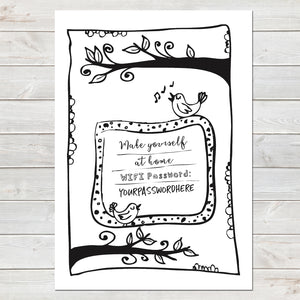 Wifi Password Poster, Make Yourself at Home, Bird Illustration Print A4 or A3
