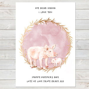 Dear Mama Cute Pigs, Mummy & Baby Print, Mother's Day Gift