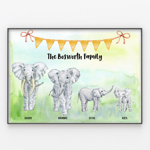Elephant Family Print, Custom Quote, Personalised Wall Art Gift A3 or A4