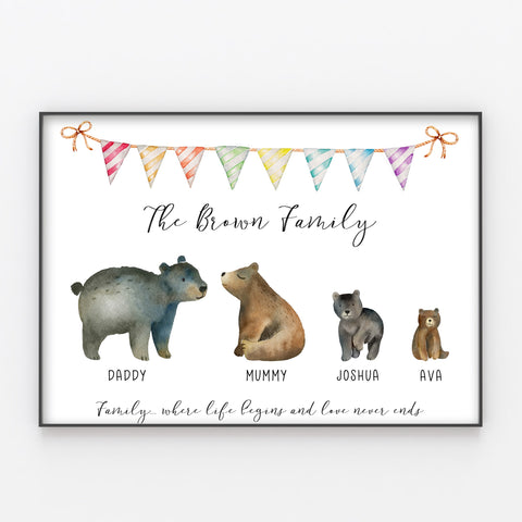 Bear Family Print Custom Quote, Personalised Bears Wall Art Gift A3 or A4