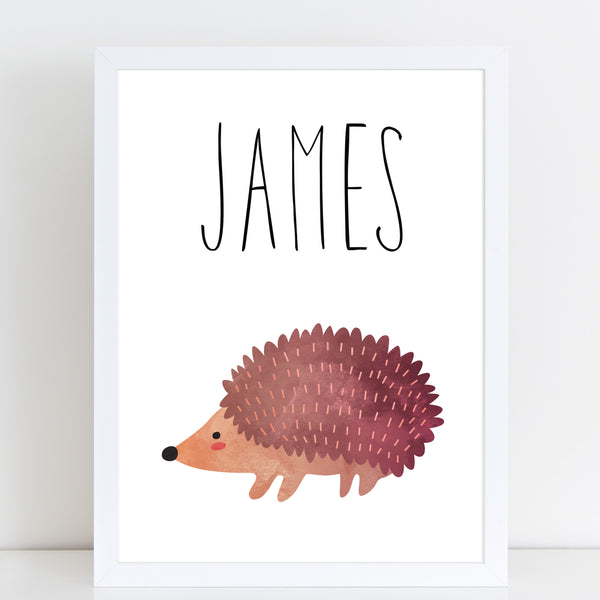Hedgehog Children's Poster, Personalised White Nursery Print