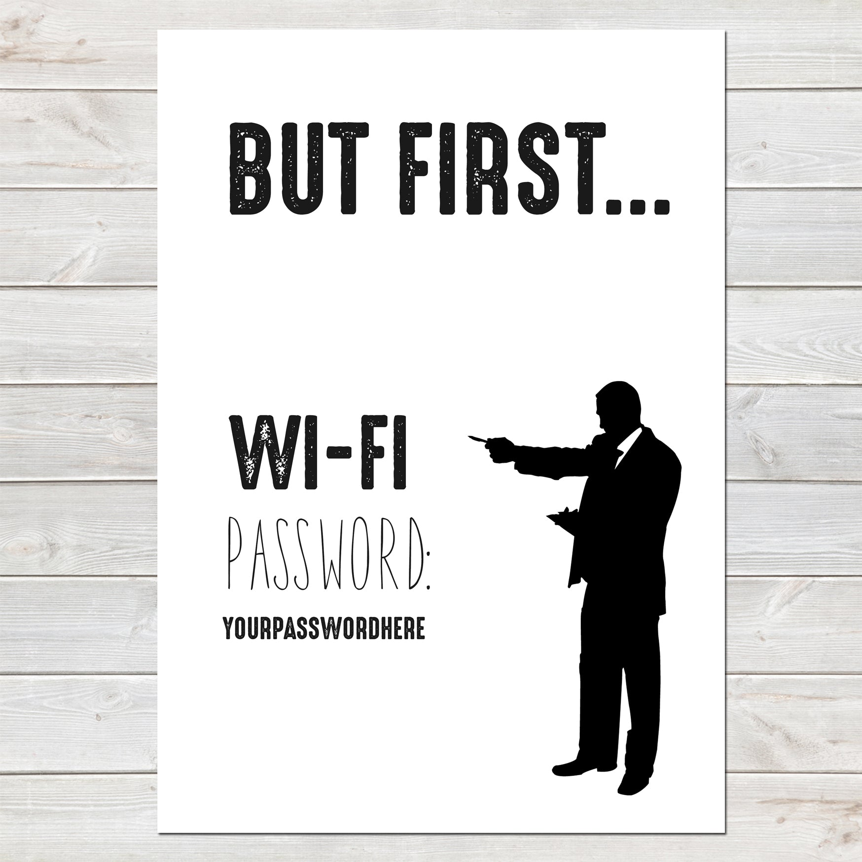 Wifi Password Poster, But First, Smart Stylish Print, A4 or A3