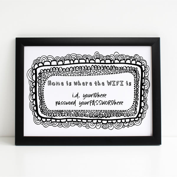 Wifi Password Poster, Home is Where the WIFI is, Pretty Print A4 or A3
