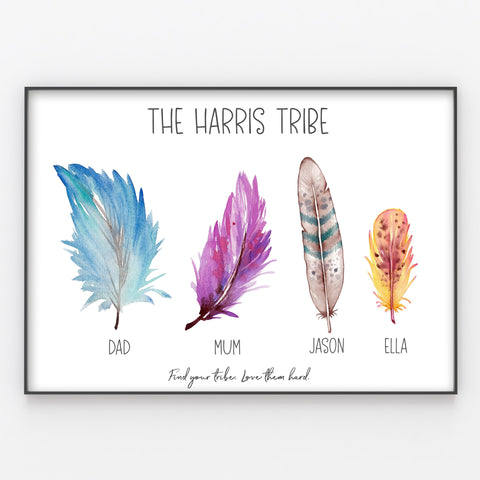 Tribal Feathers Family Tribe Print, Custom Quote, Personalised Wall Art Gift A3 or A4