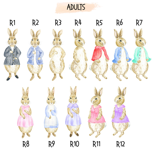 Rabbits / Bunnies Family Print, Wall Art Gift for Home Personalised in A3 or A4