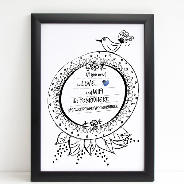 Wifi Password Print, All You Need is Love. & Wifi, A4 or A3