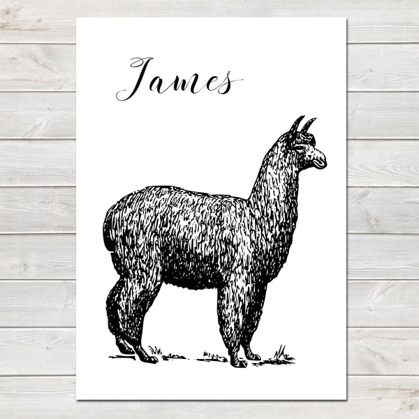 Alpaca Vintage Style Personalised Nursery Bedroom Print