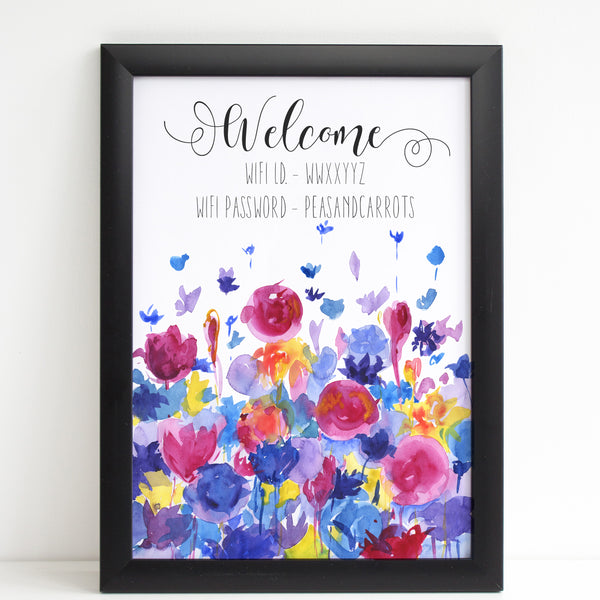 Wifi Password Poster, Welcome Print with Beautiful Watercolour Flowers