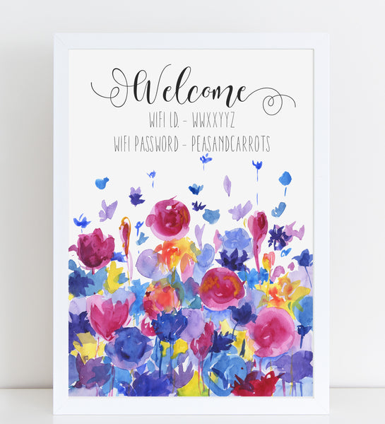 Wifi Password Poster, Welcome Print with Beautiful Watercolour Flowers A4 or A3