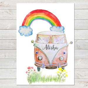 Personalised Campervan Print, Nursery Gift, Bedroom Poster with Rainbow