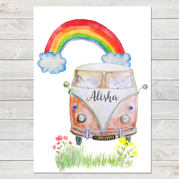 Personalised Campervan Print, Nursery Gift, Bedroom Poster with Rainbow A4 or A3