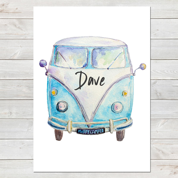 Personalised Campervan Print, Birthday Gift, Custom Home Decor