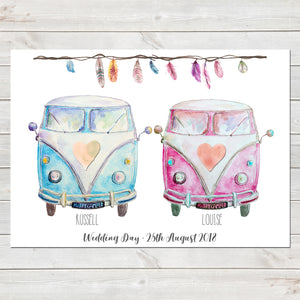 Personalised Campervans, Tribal Feathers Print, Wedding/Valentines Gift, Home Decor A4 or A3