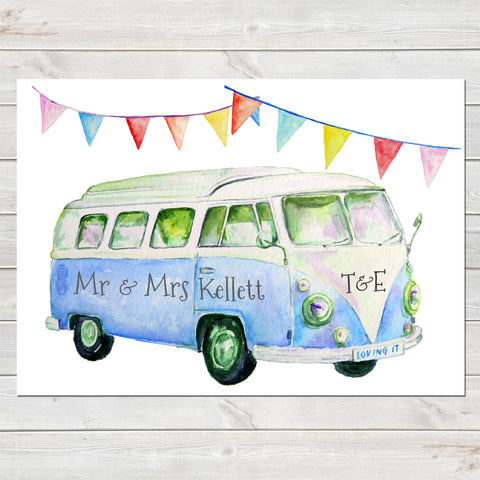 Personalised Campervan Newlyweds, Couples Print, Wedding/Anniversary/Valentines Gift, Home Decor