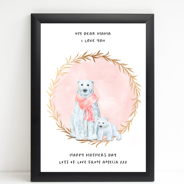 Dear Mama Cute Polar Bears, Mummy & Baby Print, Mother's Day Gift