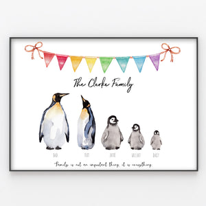 Penguin Family Print Custom Quote, Personalised Wall Art Gift