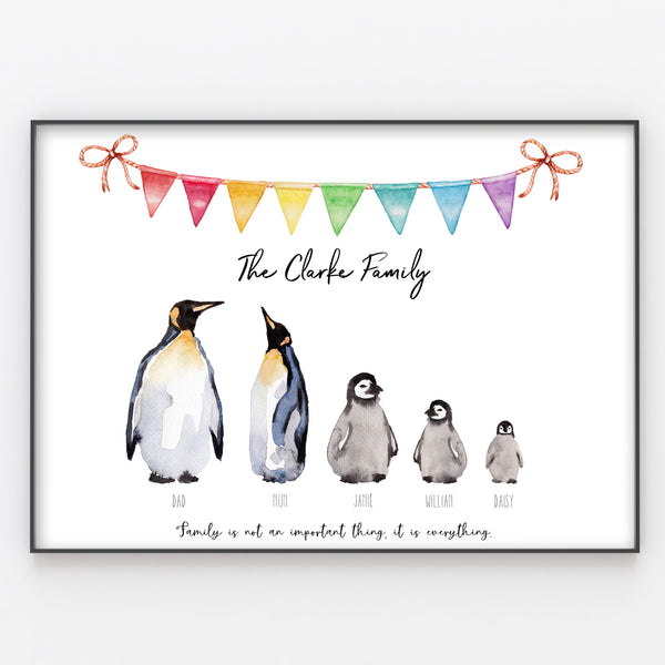 Penguin Family Print Custom Quote, Personalised Wall Art Gift A3 or A4