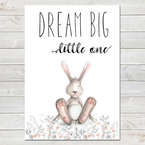 Dream Big Little One Bunny White / Floral Nursery Print- A4