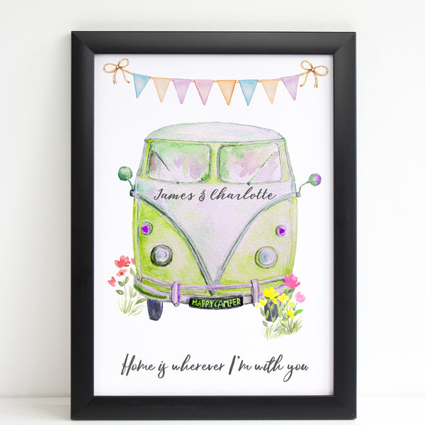 Personalised Campervan, Couples Print, Wedding / Anniversary / Valentines Gift