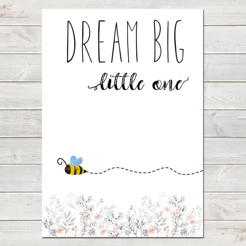 Dream Big Little One Little Bee White Nursery Print- A4
