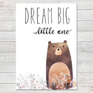 Dream Big Little One Bear White / Floral Nursery Print- A4