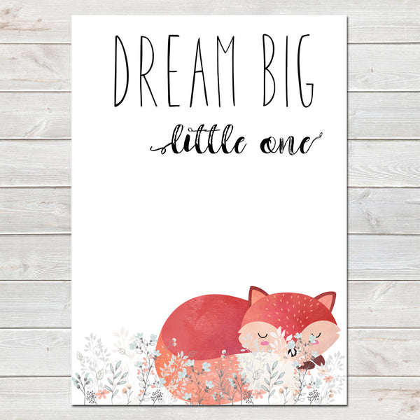 Dream Big Little One Sleeping Fox White / Floral Nursery Print- A4