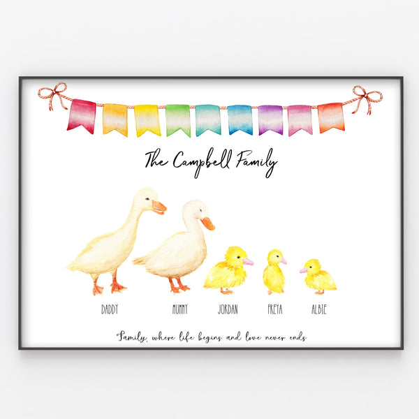 Ducks & Ducklings Family Print, Custom Quote, Personalised Wall Art Gift