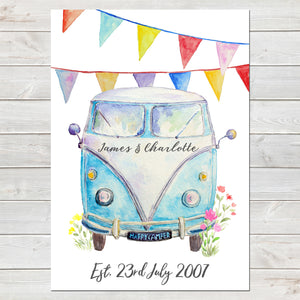 Personalised Campervan with Bunting Print, Wedding/Valentines Gift, Home Decor