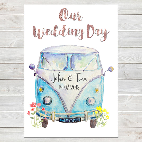 Personalised Campervan Newlyweds, Wedding/Anniversary Gift, Special Date
