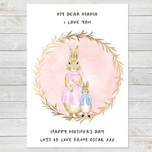Dear Mama Cute Rabbits, Mummy & Baby Print, Mother's Day Gift