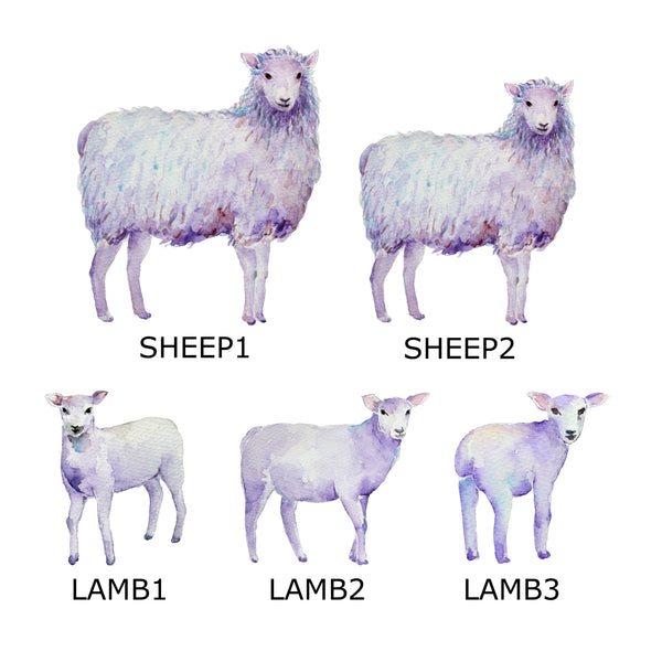 Sheep & Lambs Family Print, Custom Quote, Personalised Wall Art Gift A3 or A4
