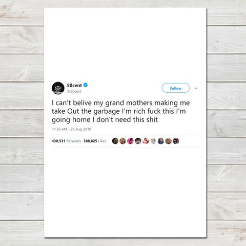 Famous Tweets Prints, Celebrity Twitter, Unframed Print / Poster Home Decor • Custom Option- A4
