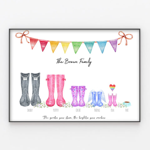Wellington Boot RAINBOW BABY Family Print Personalised Rain Boots A3 or A4
