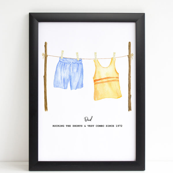 Father's Day Washing Line Print Unique Personalised Wall Art Gift For Him