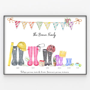 Wellington Boot Family Print Personalised Rain Boot Wall Art Gift A3 or A4