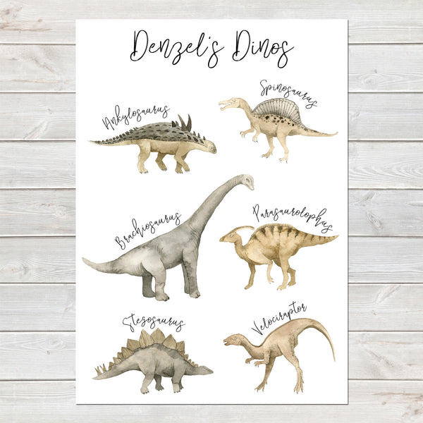 Dinosaur Print for Kids Bedroom, Personalised Poster Various Dinos