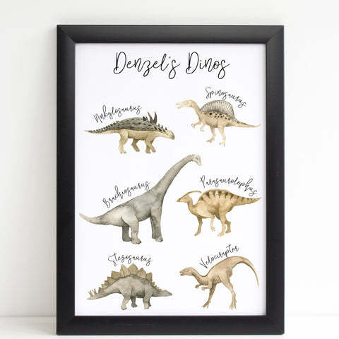 Dinosaur Print for Kids Bedroom, Personalised Poster Various Dinos A4 or A3