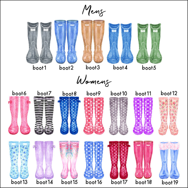 Wellington Boot Family Print Personalised Rain Boot Wall Art Gift
